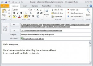 Tom's Tutorials for Excel: Attach Workbook in Outlook Email