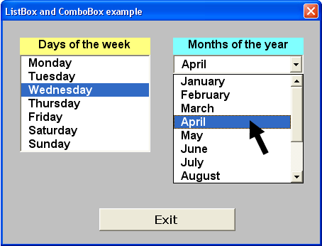 Tom's Tutorials For Excel: ListBox Days & ComboBox Months