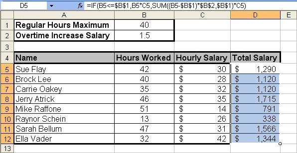 Tom's Tutorials For Excel: Calculating Salary Overtime
