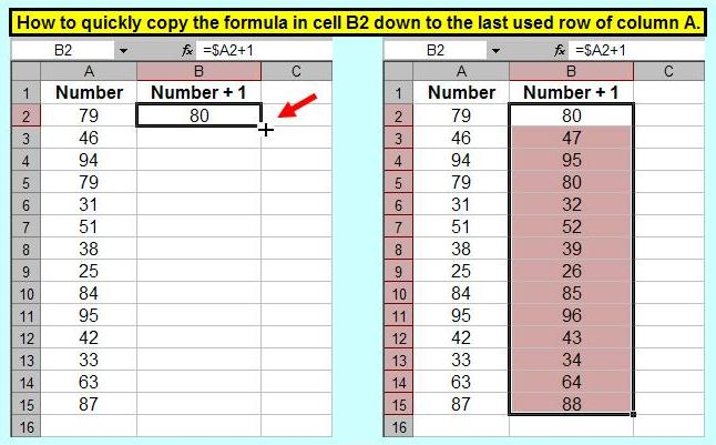 Tom's Tutorials For Excel: Fill Formula to Last Used Row