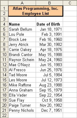 Tom's Tutorials For Excel: Sorting Birthdays, Excluding the