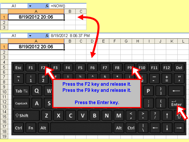 Tom's Tutorials For Excel: Entering a Static Date and Time