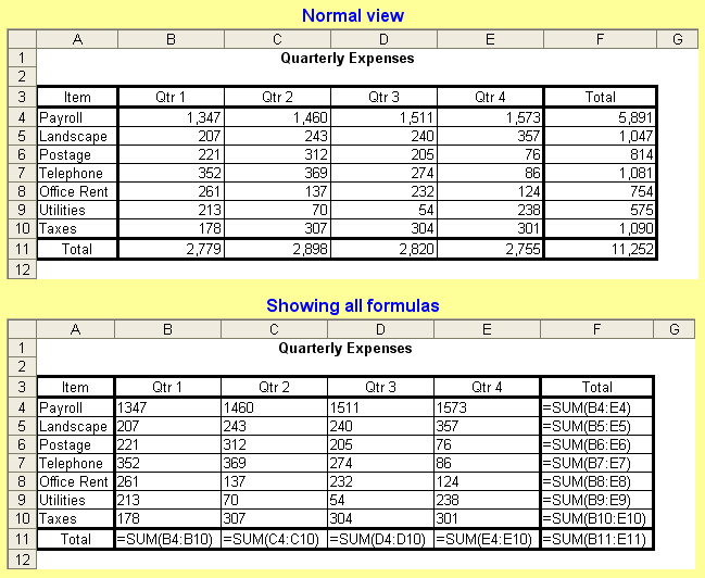 Tom's Tutorials For Excel: Toggling to Show All Formulas or