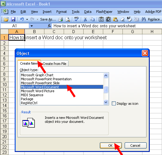 Tom's Tutorials For Excel: Inserting a Word Document Onto