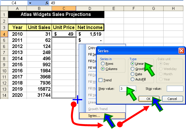 Tom's Tutorials For Excel: Filling Series For Linear and
