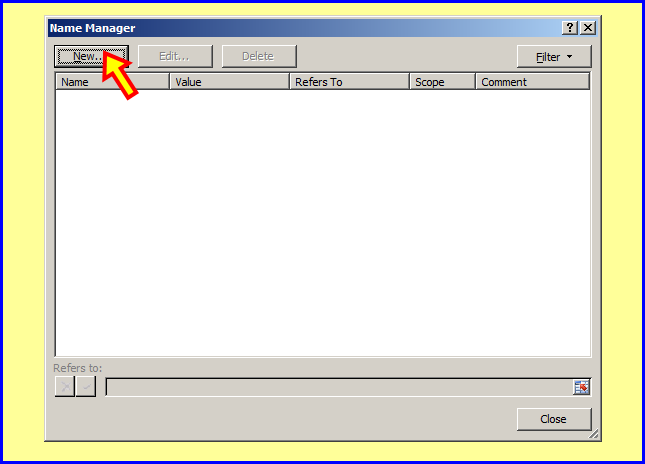 how to create name manager in excel 2007