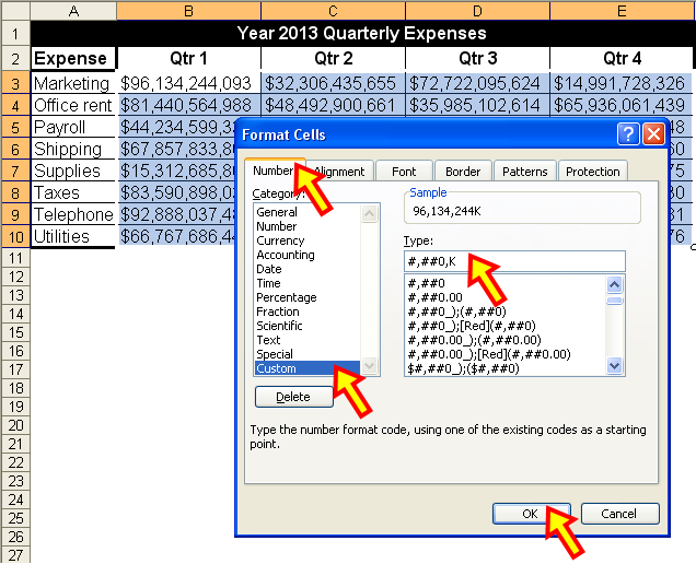 excel how to change numbers to thousands