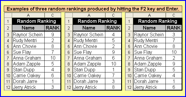 Tom S Tutorials For Excel Ranking A List In Random Order
