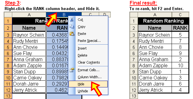 Tom's Tutorials For Excel: Ranking a List in Random Order
