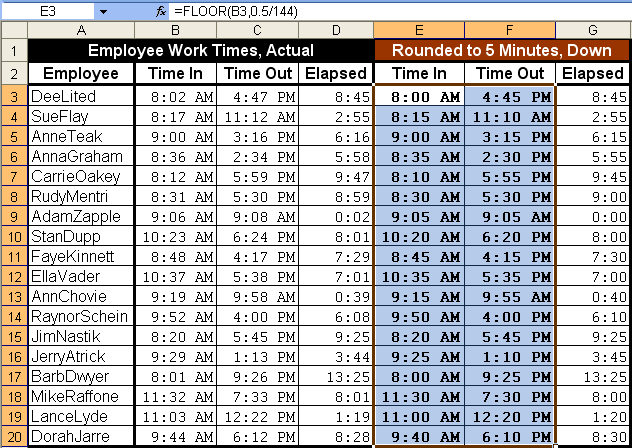 Tom S Tutorials For Excel Rounding Times Of Day By 5