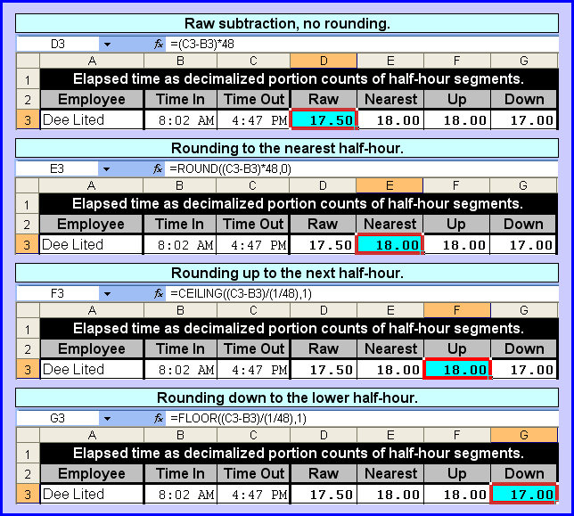 how to add rounding in excel