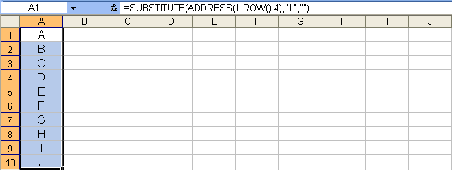 Tom's Tutorials For Excel: Listing Column Letters Across and Down