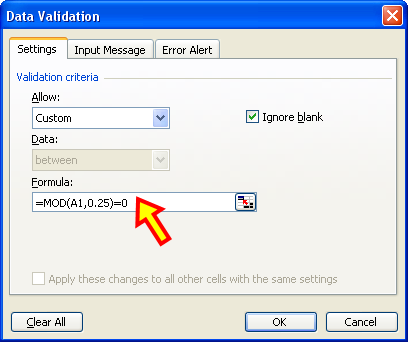 Tom's Tutorials For Excel: Using Data Validation to Force a