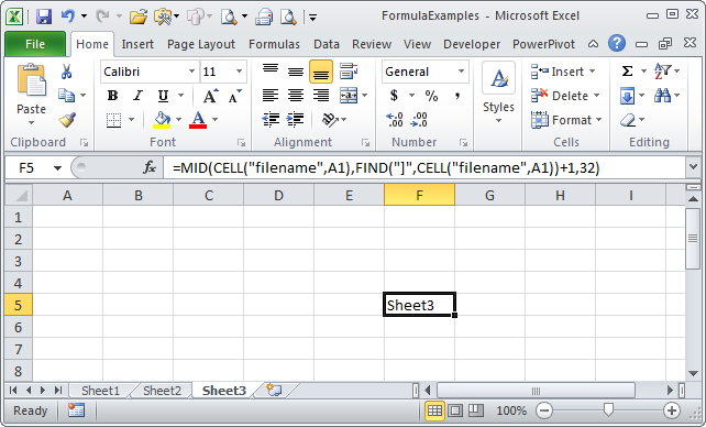 Toms Tutorials For Excel Using a Formula to Get Your Active – Excel Worksheet Name