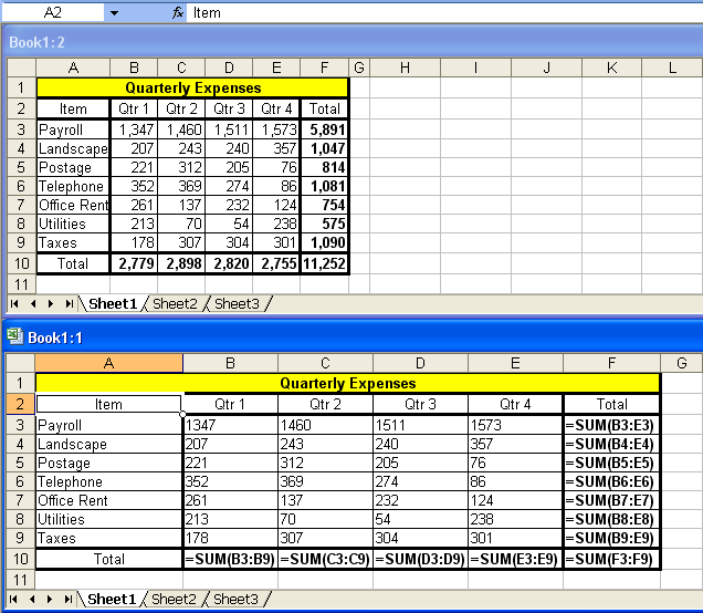 tom s tutorials for excel seeing values and formulas on the same